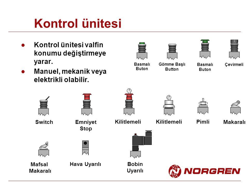 Kontrol ünitesi Kontrol ünitesi valfin konumu değiştirmeye yarar. Manuel, mekanik veya elektrikli olabilir. Çevirmeli Basmalı Buton Gömme Başlı Button