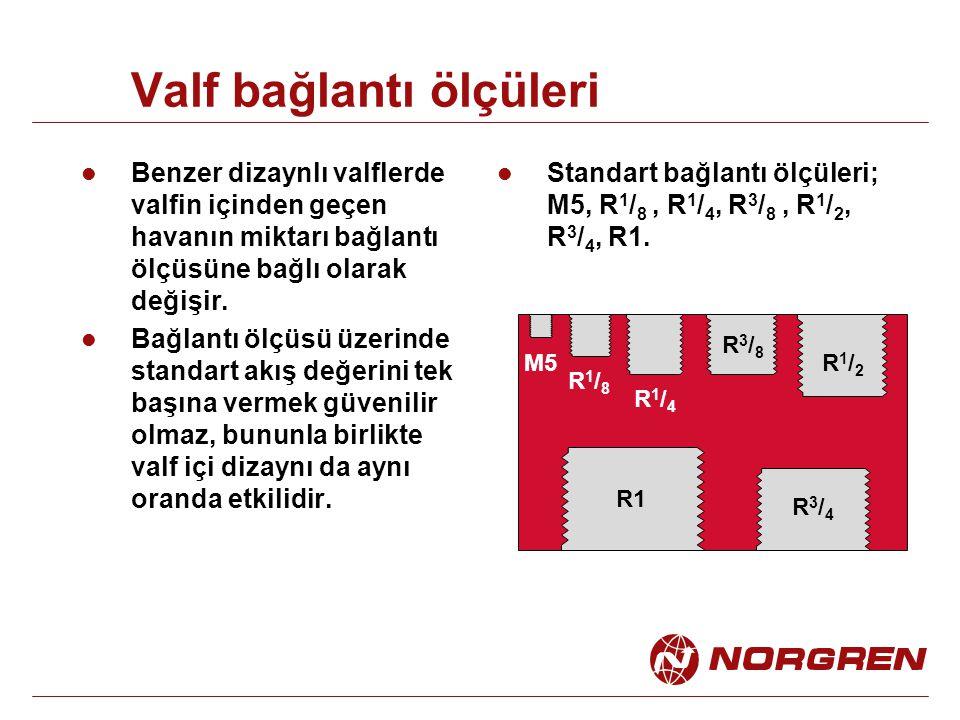 5/3 Valf (ana hatta açık) Normal konumda ana hava hattı 2 ve 4 hattına bağlıdır.