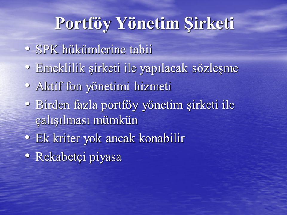 Portföy Yönetim Şirketi Portföy Yönetim Şirketi SPK hükümlerine tabii SPK hükümlerine tabii Emeklilik şirketi ile yapılacak sözleşme Emeklilik şirketi ile yapılacak sözleşme Aktif fon yönetimi hizmeti Aktif fon yönetimi hizmeti Birden fazla portföy yönetim şirketi ile çalışılması mümkün Birden fazla portföy yönetim şirketi ile çalışılması mümkün Ek kriter yok ancak konabilir Ek kriter yok ancak konabilir Rekabetçi piyasa Rekabetçi piyasa