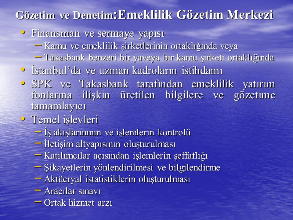 Gözetim ve Denetim : Emeklilik Gözetim Merkezi Finansman ve sermaye yapısı Finansman ve sermaye yapısı – Kamu ve emeklilik şirketlerinin ortaklığında veya – Takasbank benzeri bir yaveya bir kamu şirketi ortaklığında İstanbul'da ve uzman kadroların istihdamı İstanbul'da ve uzman kadroların istihdamı SPK ve Takasbank tarafından emeklilik yatırım fonlarına ilişkin üretilen bilgilere ve gözetime tamamlayıcı SPK ve Takasbank tarafından emeklilik yatırım fonlarına ilişkin üretilen bilgilere ve gözetime tamamlayıcı Temel işlevleri Temel işlevleri – İş akışlarınının ve işlemlerin kontrolü – İletişim altyapısının oluşturulması – Katılımcılar açısından işlemlerin şeffaflığı – Şikayetlerin yönlendirilmesi ve bilgilendirme – Aktüeryal istatistiklerin oluşturulması – Aracılar sınavı – Ortak hizmet arzı