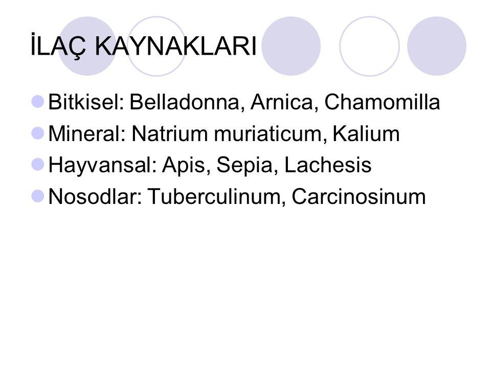 İLAÇ KAYNAKLARI Bitkisel: Belladonna, Arnica, Chamomilla Mineral: Natrium muriaticum, Kalium Hayvansal: Apis, Sepia, Lachesis Nosodlar: Tuberculinum, Carcinosinum