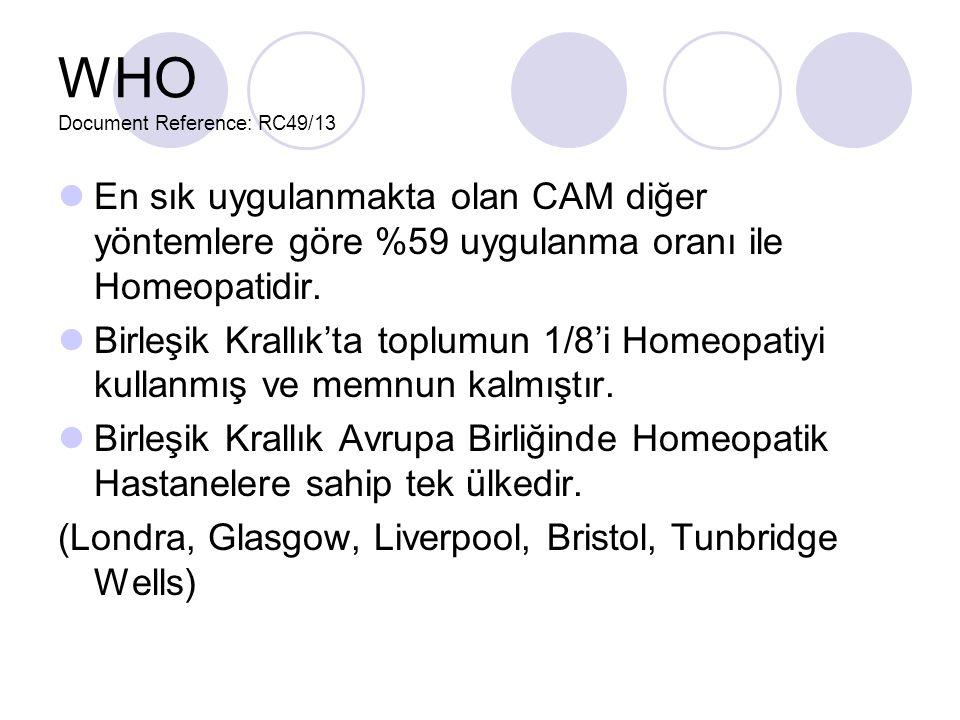 WHO Document Reference: RC49/13 En sık uygulanmakta olan CAM diğer yöntemlere göre %59 uygulanma oranı ile Homeopatidir.