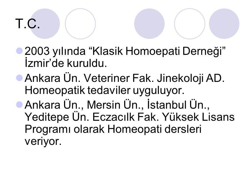 T.C.2003 yılında Klasik Homoepati Derneği İzmir'de kuruldu.