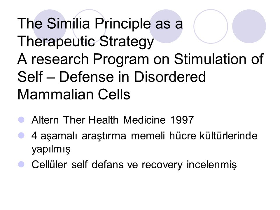 The Similia Principle as a Therapeutic Strategy A research Program on Stimulation of Self – Defense in Disordered Mammalian Cells Altern Ther Health M
