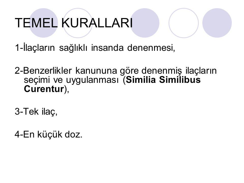 TEMEL KURALLARI 1-İlaçların sağlıklı insanda denenmesi, 2-Benzerlikler kanununa göre denenmiş ilaçların seçimi ve uygulanması (Similia Similibus Curentur), 3-Tek ilaç, 4-En küçük doz.