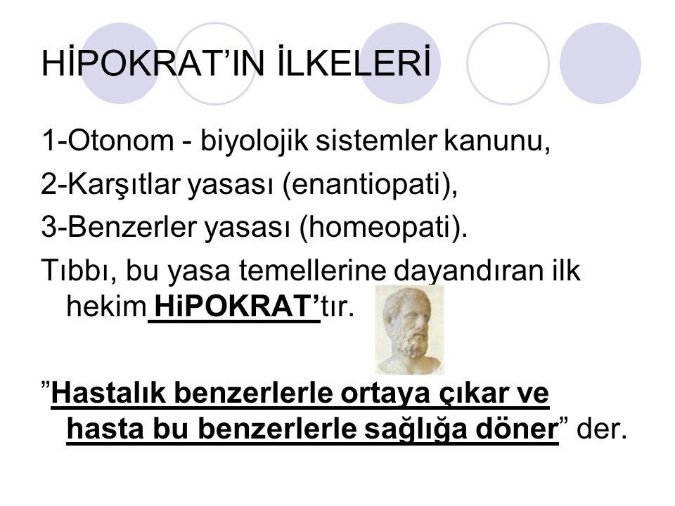 HİPOKRAT'IN İLKELERİ 1-Otonom - biyolojik sistemler kanunu, 2-Karşıtlar yasası (enantiopati), 3-Benzerler yasası (homeopati).