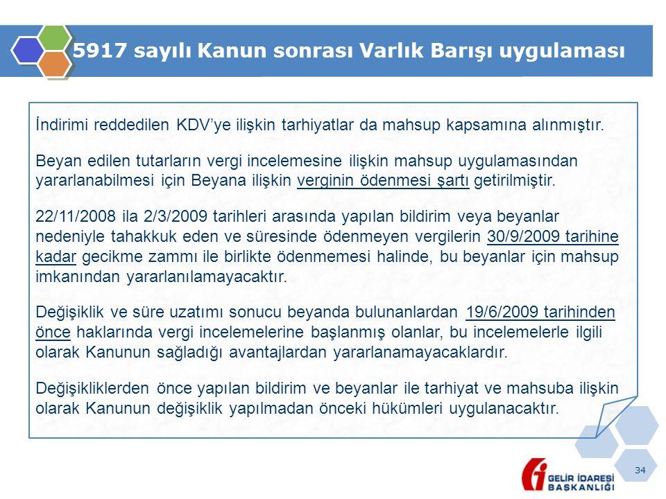 34 5917 sayılı Kanun sonrası Varlık Barışı uygulaması İndirimi reddedilen KDV'ye ilişkin tarhiyatlar da mahsup kapsamına alınmıştır.
