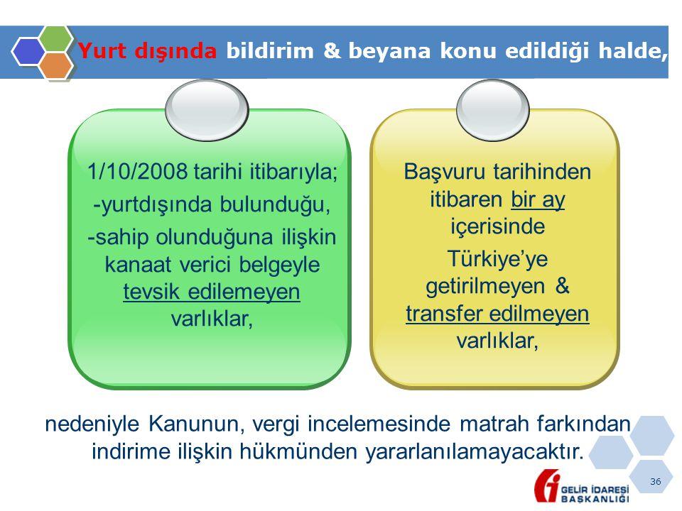 36 Yurt dışında bildirim & beyana konu edildiği halde, 1/10/2008 tarihi itibarıyla; -yurtdışında bulunduğu, -sahip olunduğuna ilişkin kanaat verici belgeyle tevsik edilemeyen varlıklar, Başvuru tarihinden itibaren bir ay içerisinde Türkiye'ye getirilmeyen & transfer edilmeyen varlıklar, nedeniyle Kanunun, vergi incelemesinde matrah farkından indirime ilişkin hükmünden yararlanılamayacaktır.