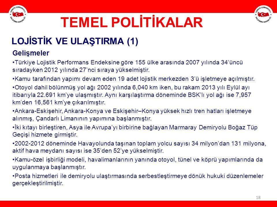 18 LOJİSTİK VE ULAŞTIRMA (1) Gelişmeler Türkiye Lojistik Performans Endeksine göre 155 ülke arasında 2007 yılında 34'üncü sıradayken 2012 yılında 27'n