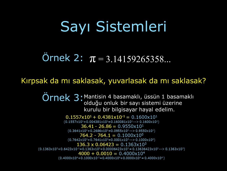 Sayı Sistemleri Örnek 2: π = 3.14159265358... Kırpsak da mı saklasak, yuvarlasak da mı saklasak? Örnek 3: Mantisin 4 basamaklı, üssün 1 basamaklı oldu