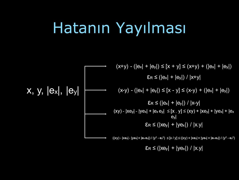 Hatanın Yayılması x, y, |e x |, |e y | (x+y) - (|e x | + |e y |) ≤ [x + y] ≤ (x+y) + (|e x | + |e y |) ε R ≤ (|e x | + |e y |) / |x+y| (x-y) - (|e x |