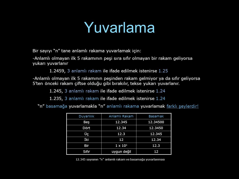 Aritmetik Elle hesaplamada genel olarak aşağıdaki kurallar takip edilir : -Çarpma ve bölme için sonuç, en az anlamlı rakam içeren sayıdaki anlamlı rakam sayısı kadar anlamlı rakam içermelidir.