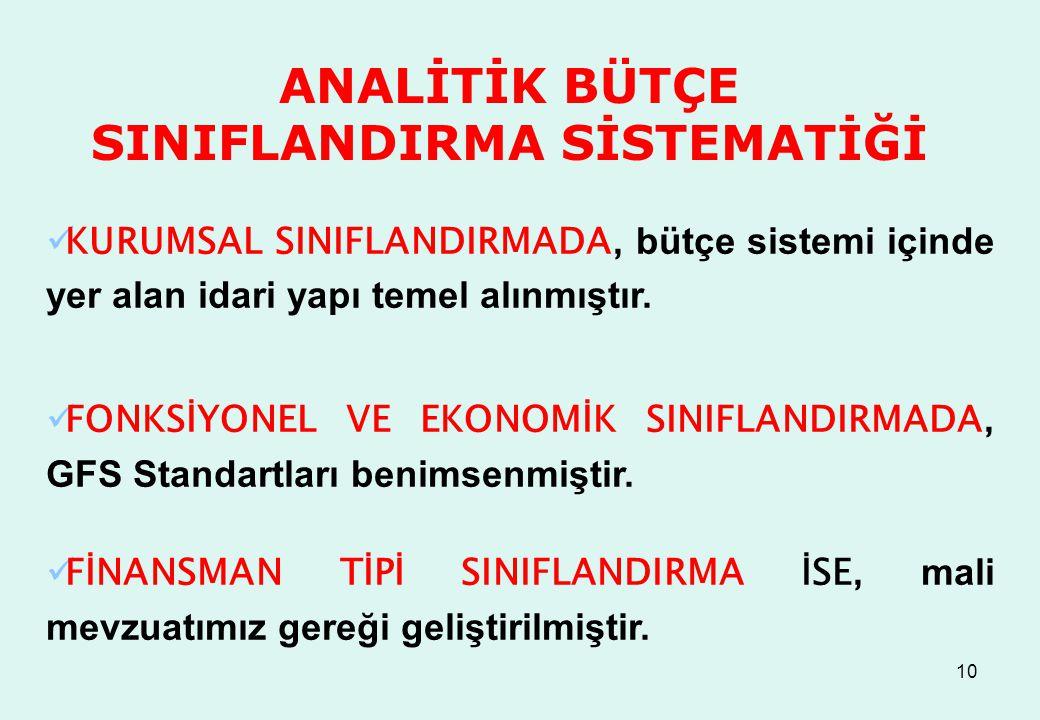 10 ANALİTİK BÜTÇE SINIFLANDIRMA SİSTEMATİĞİ KURUMSAL SINIFLANDIRMADA, bütçe sistemi içinde yer alan idari yapı temel alınmıştır.