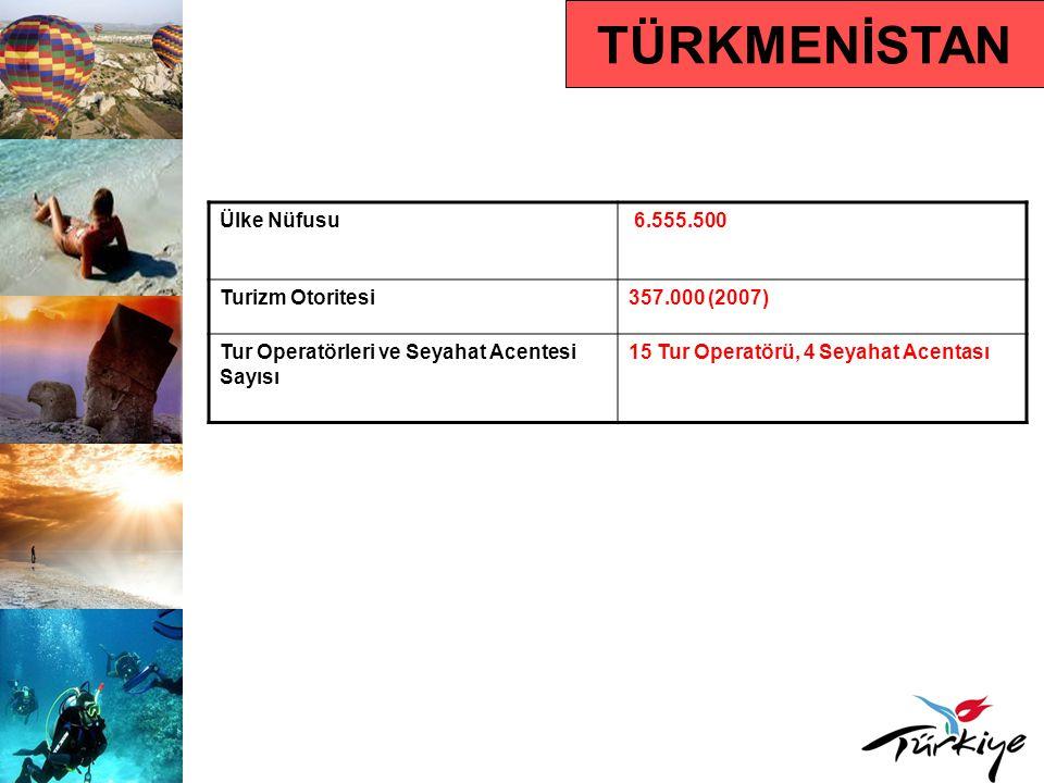 TÜRKMENİSTAN Ülke Nüfusu 6.555.500 Turizm Otoritesi357.000 (2007) Tur Operatörleri ve Seyahat Acentesi Sayısı 15 Tur Operatörü, 4 Seyahat Acentası