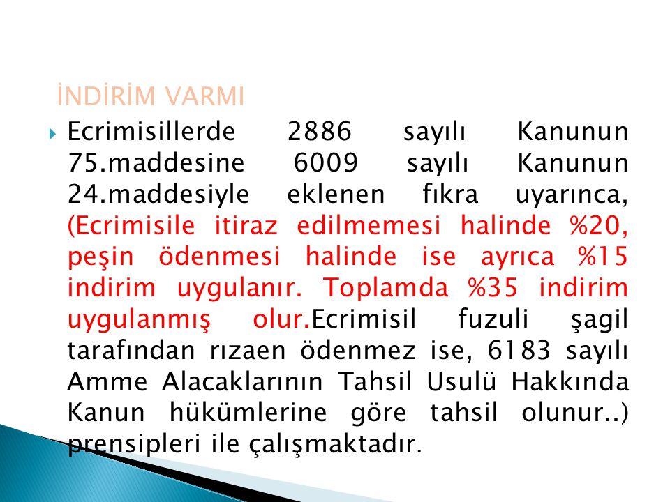 İNDİRİM VARMI  Ecrimisillerde 2886 sayılı Kanunun 75.maddesine 6009 sayılı Kanunun 24.maddesiyle eklenen fıkra uyarınca, (Ecrimisile itiraz edilmemes