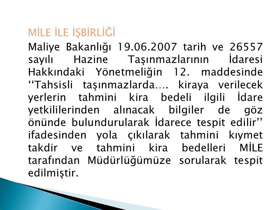 MİLE İLE İŞBİRLİĞİ Maliye Bakanlığı 19.06.2007 tarih ve 26557 sayılı Hazine Taşınmazlarının İdaresi Hakkındaki Yönetmeliğin 12. maddesinde ''Tahsisli