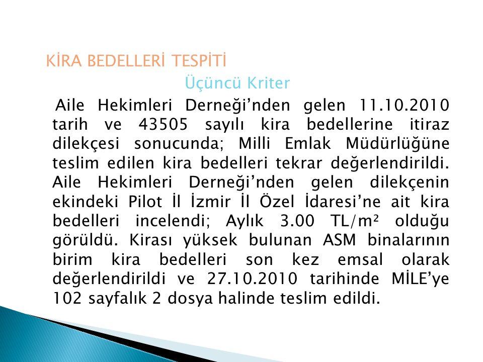 DEĞERLEME YÖNTEMİ VE SONUÇ Bursa'da aile hekimlerinin kira bedelleri tespit edilirken; birim m² kira bedeli üzerinden kullanım alanına göre kiralama yapılmaktadır.
