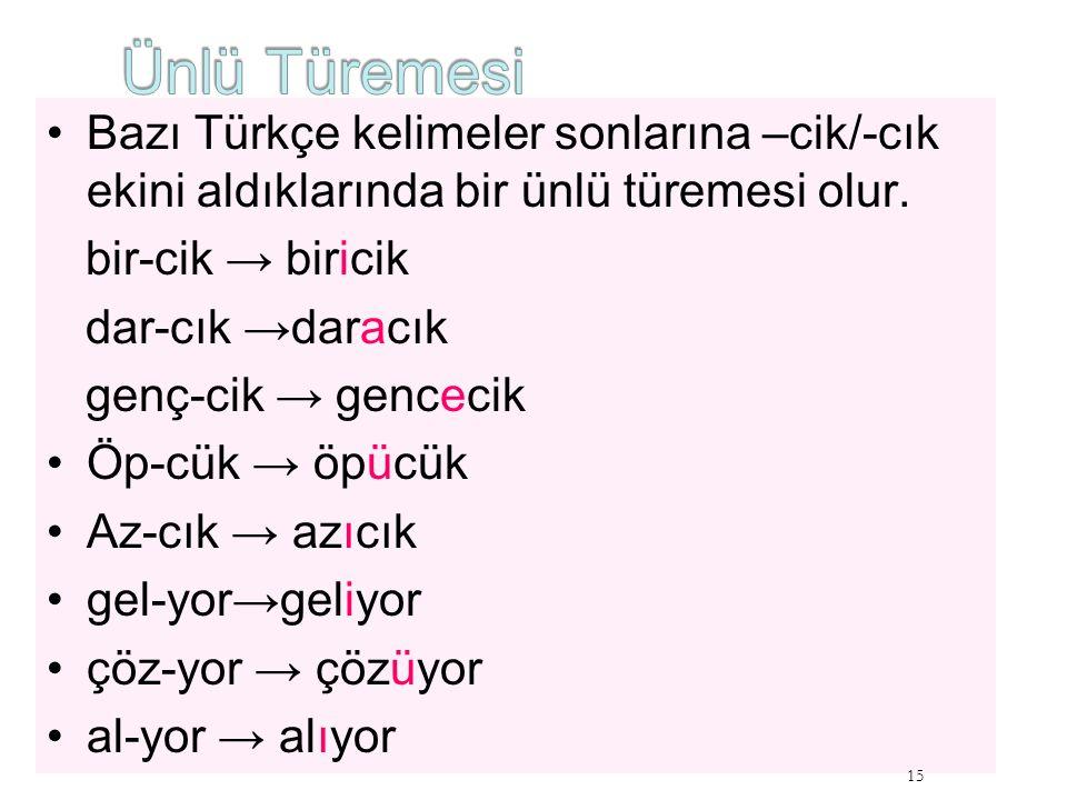 Bazı Türkçe kelimeler sonlarına –cik/-cık ekini aldıklarında bir ünlü türemesi olur. bir-cik → biricik dar-cık →daracık genç-cik → gencecik Öp-cük → ö