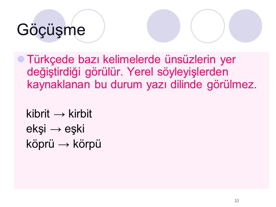 Türkçede bazı kelimelerde ünsüzlerin yer değiştirdiği görülür. Yerel söyleyişlerden kaynaklanan bu durum yazı dilinde görülmez. kibrit → kirbit ekşi →