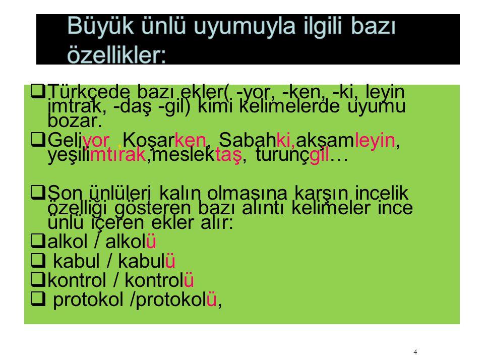  Türkçede bazı ekler( -yor, -ken, -ki, leyin imtrak, -daş -gil) kimi kelimelerde uyumu bozar.  Geliyor,Koşarken, Sabahki,akşamleyin, yeşilimtırak,me
