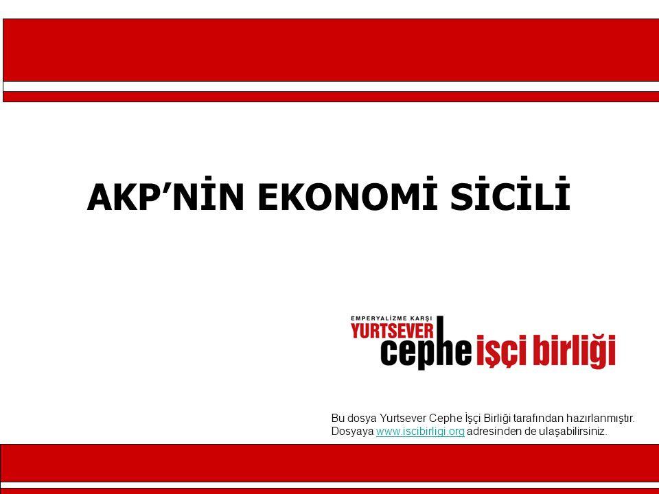 AKP'NİN EKONOMİ SİCİLİ Bu dosya Yurtsever Cephe İşçi Birliği tarafından hazırlanmıştır.