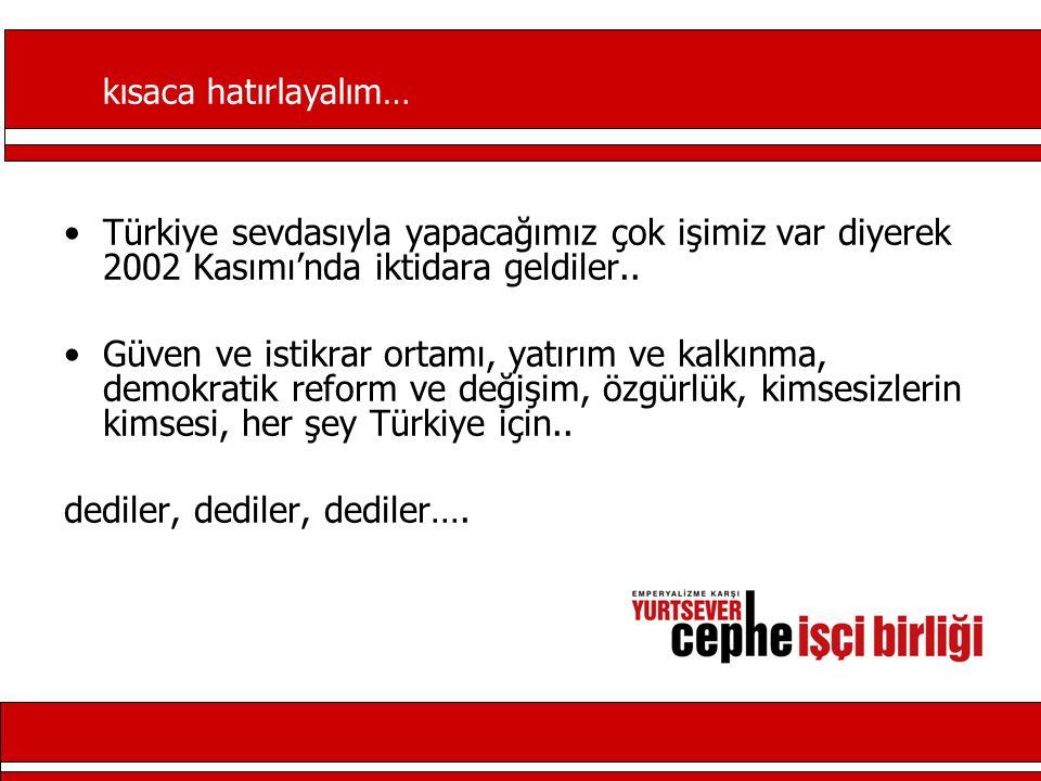 Türkiye sevdasıyla yapacağımız çok işimiz var diyerek 2002 Kasımı'nda iktidara geldiler..