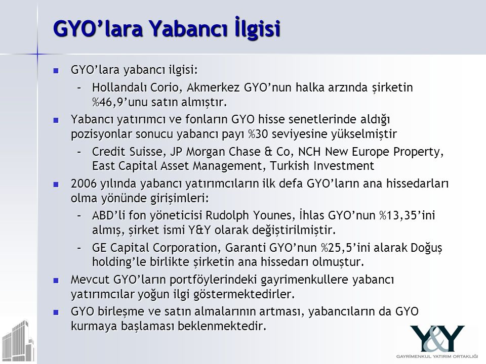 GYO'lara Yabancı İlgisi GYO'lara yabancı ilgisi: GYO'lara yabancı ilgisi: –Hollandalı Corio, Akmerkez GYO'nun halka arzında şirketin %46,9'unu satın almıştır.