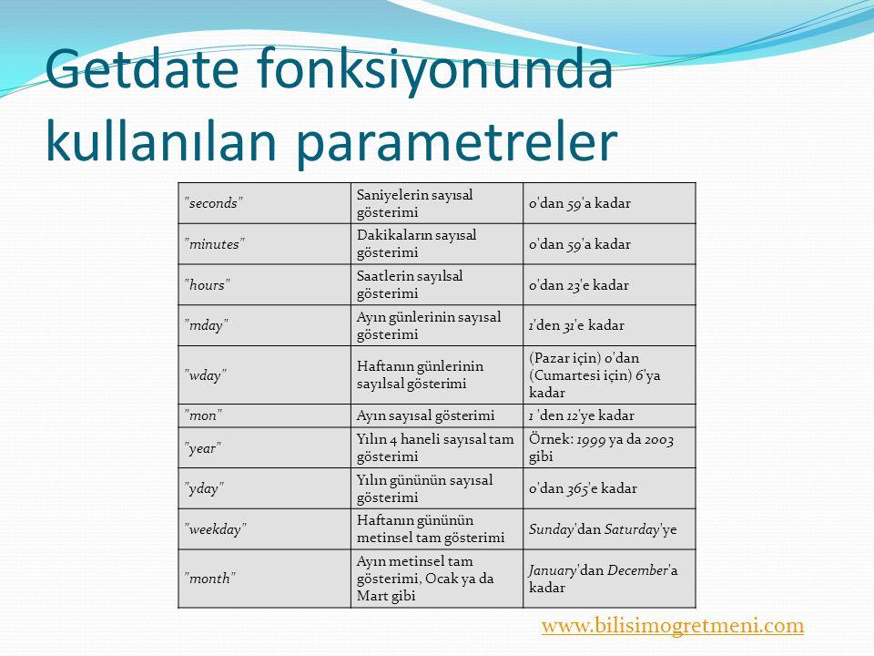 www.bilisimogretmeni.com Getdate fonksiyonunda kullanılan parametreler