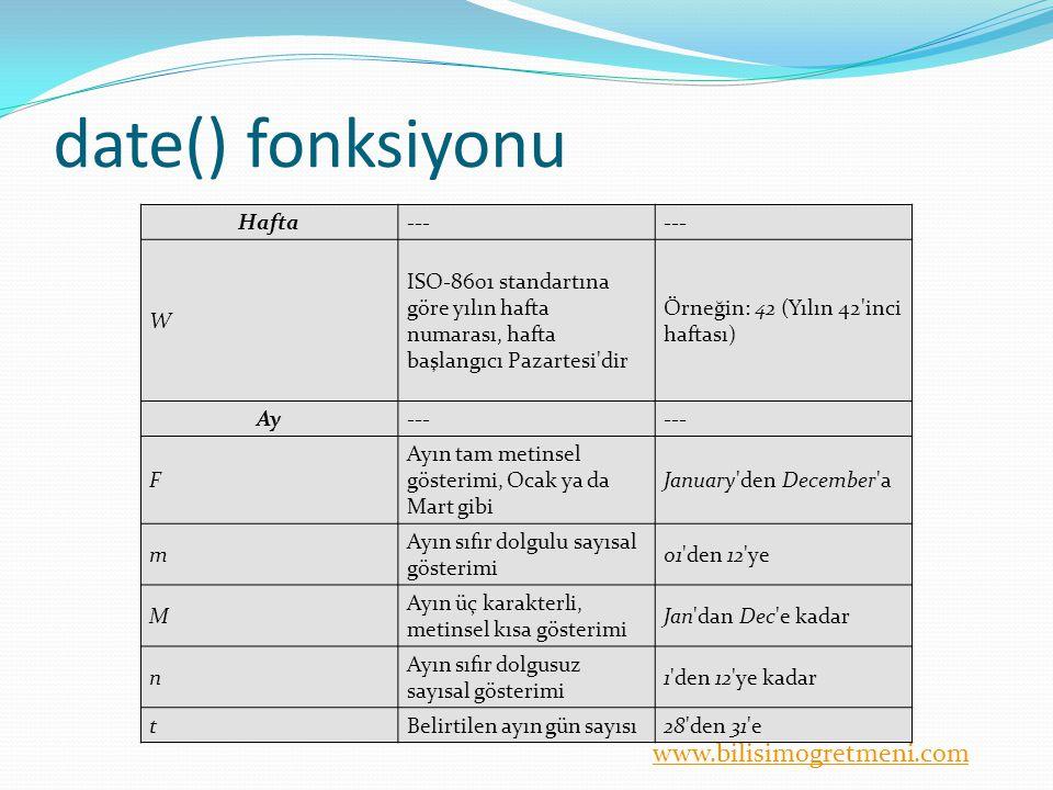 www.bilisimogretmeni.com date() fonksiyonu Hafta--- W ISO-8601 standartına göre yılın hafta numarası, hafta başlangıcı Pazartesi'dir Örneğin: 42 (Yılı