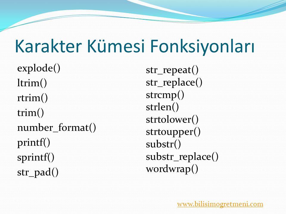 www.bilisimogretmeni.com Karakter Kümesi Fonksiyonları explode() ltrim() rtrim() trim() number_format() printf() sprintf() str_pad() str_repeat() str_