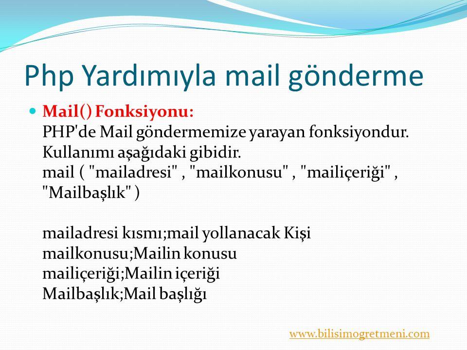 www.bilisimogretmeni.com Php Yardımıyla mail gönderme Mail() Fonksiyonu: PHP'de Mail göndermemize yarayan fonksiyondur. Kullanımı aşağıdaki gibidir. m