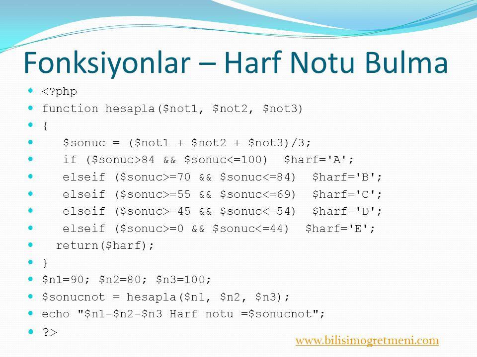 www.bilisimogretmeni.com number_format() Sayıyı binlik bölümlere ayırır.