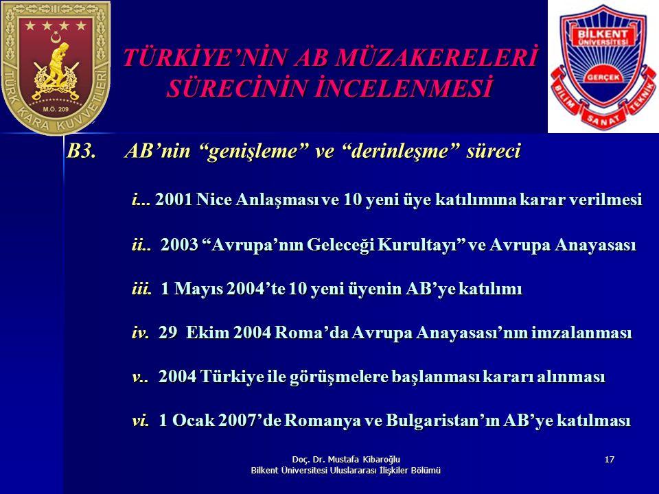 """Doç. Dr. Mustafa Kibaroğlu Bilkent Üniversitesi Uluslararası İlişkiler Bölümü 17 TÜRKİYE'NİN AB MÜZAKERELERİ SÜRECİNİN İNCELENMESİ B3. AB'nin """"genişle"""