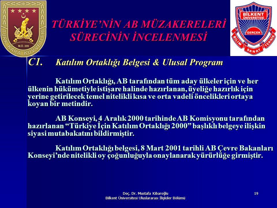 Doç. Dr. Mustafa Kibaroğlu Bilkent Üniversitesi Uluslararası İlişkiler Bölümü 19 TÜRKİYE'NİN AB MÜZAKERELERİ SÜRECİNİN İNCELENMESİ C1. Katılım Ortaklı