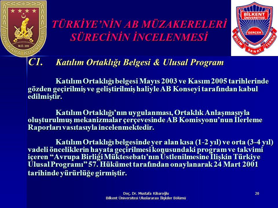 Doç. Dr. Mustafa Kibaroğlu Bilkent Üniversitesi Uluslararası İlişkiler Bölümü 20 TÜRKİYE'NİN AB MÜZAKERELERİ SÜRECİNİN İNCELENMESİ C1. Katılım Ortaklı