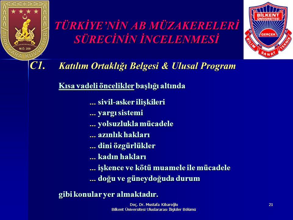 Doç. Dr. Mustafa Kibaroğlu Bilkent Üniversitesi Uluslararası İlişkiler Bölümü 21 TÜRKİYE'NİN AB MÜZAKERELERİ SÜRECİNİN İNCELENMESİ C1. Katılım Ortaklı