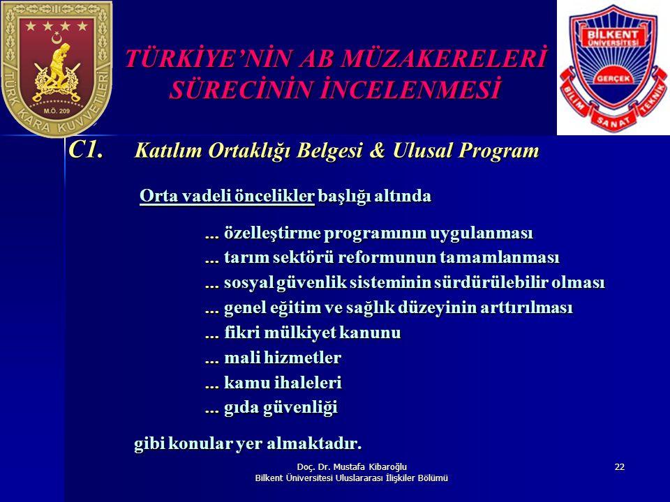 Doç. Dr. Mustafa Kibaroğlu Bilkent Üniversitesi Uluslararası İlişkiler Bölümü 22 TÜRKİYE'NİN AB MÜZAKERELERİ SÜRECİNİN İNCELENMESİ C1. Katılım Ortaklı