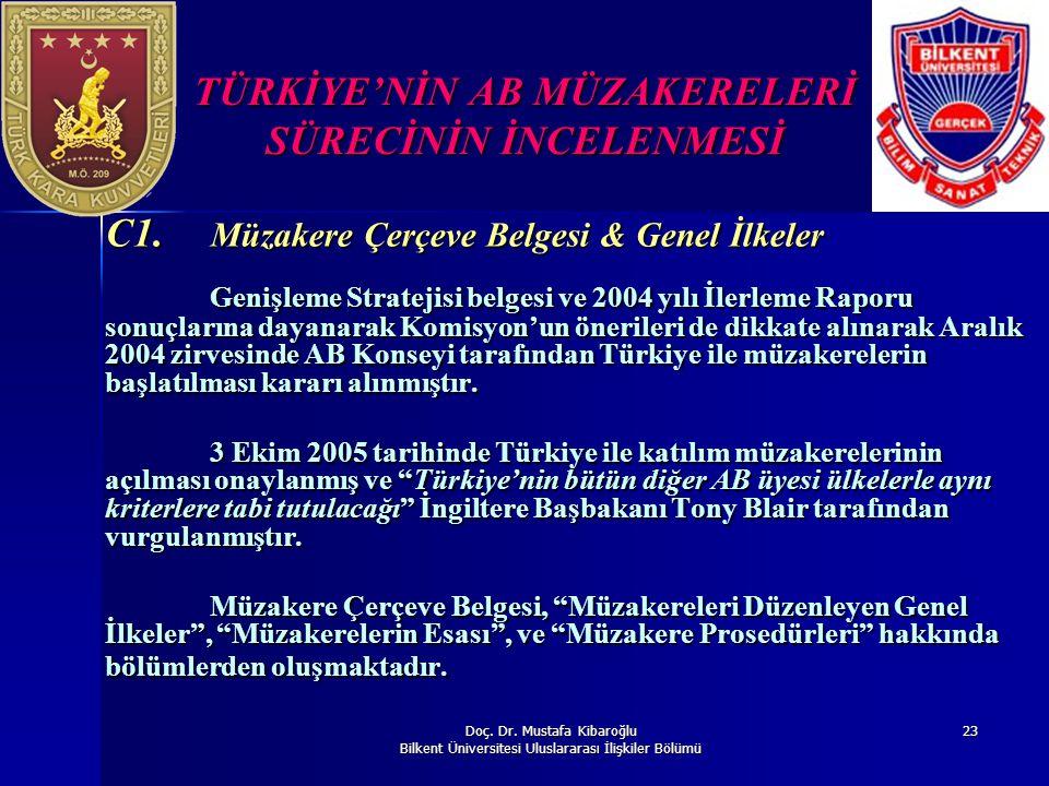 Doç. Dr. Mustafa Kibaroğlu Bilkent Üniversitesi Uluslararası İlişkiler Bölümü 23 TÜRKİYE'NİN AB MÜZAKERELERİ SÜRECİNİN İNCELENMESİ C1. Müzakere Çerçev