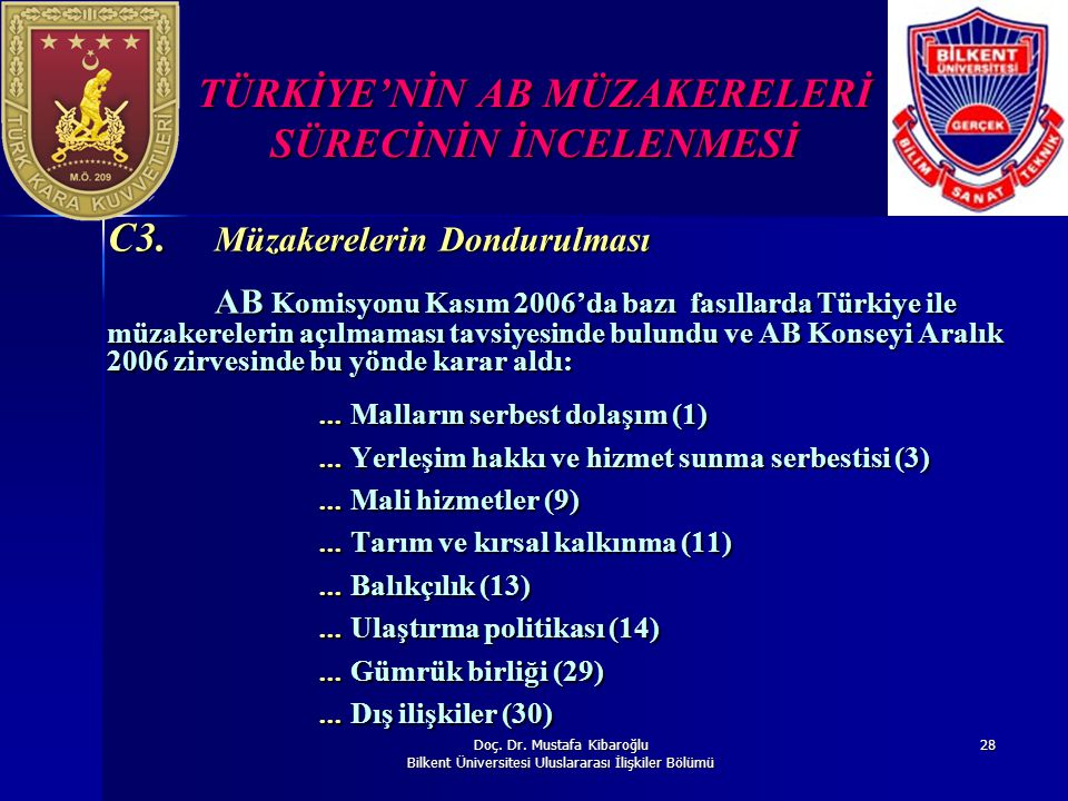 Doç. Dr. Mustafa Kibaroğlu Bilkent Üniversitesi Uluslararası İlişkiler Bölümü 28 TÜRKİYE'NİN AB MÜZAKERELERİ SÜRECİNİN İNCELENMESİ C3. Müzakerelerin D