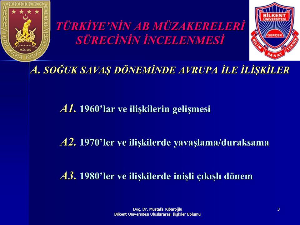 Doç. Dr. Mustafa Kibaroğlu Bilkent Üniversitesi Uluslararası İlişkiler Bölümü 3 TÜRKİYE'NİN AB MÜZAKERELERİ SÜRECİNİN İNCELENMESİ A. SOĞUK SAVAŞ DÖNEM