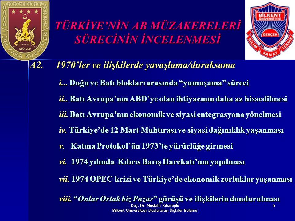 Doç. Dr. Mustafa Kibaroğlu Bilkent Üniversitesi Uluslararası İlişkiler Bölümü 5 TÜRKİYE'NİN AB MÜZAKERELERİ SÜRECİNİN İNCELENMESİ A2. 1970'ler ve iliş