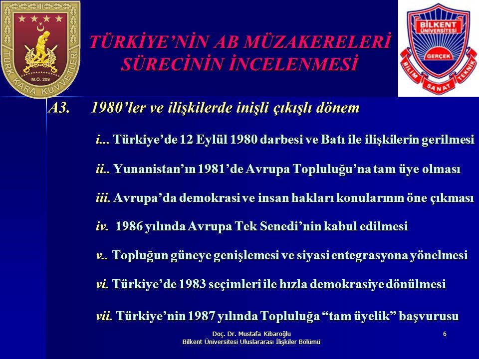 Doç. Dr. Mustafa Kibaroğlu Bilkent Üniversitesi Uluslararası İlişkiler Bölümü 6 TÜRKİYE'NİN AB MÜZAKERELERİ SÜRECİNİN İNCELENMESİ A3. 1980'ler ve iliş