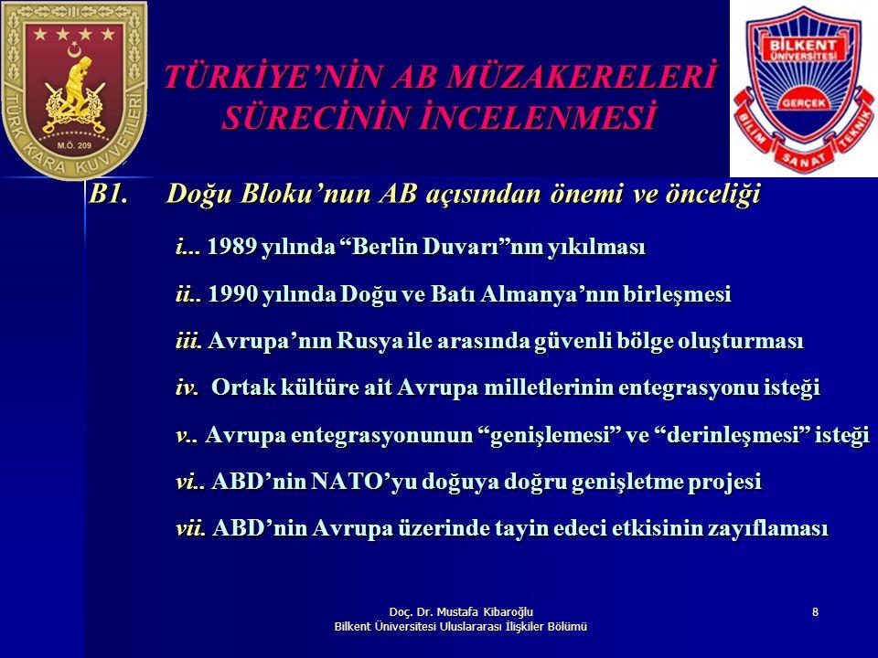 Doç. Dr. Mustafa Kibaroğlu Bilkent Üniversitesi Uluslararası İlişkiler Bölümü 8 TÜRKİYE'NİN AB MÜZAKERELERİ SÜRECİNİN İNCELENMESİ B1. Doğu Bloku'nun A