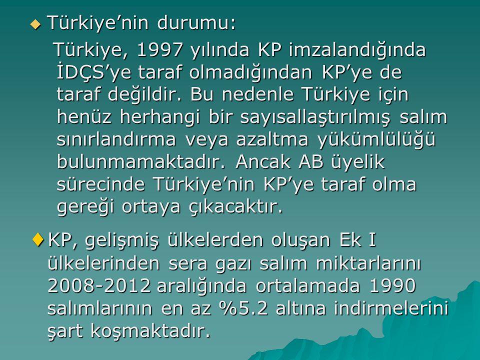 Türkiye'nin durumu: Türkiye, 1997 yılında KP imzalandığında İDÇS'ye taraf olmadığından KP'ye de taraf değildir. Bu nedenle Türkiye için henüz herhan
