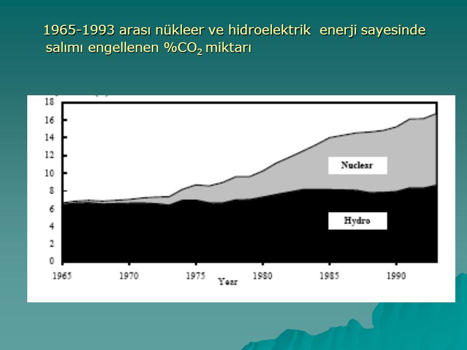  Hidro enerji sayesinde salımı engellenen %CO 2 miktarı 1965'den 1993'e çok az değişmiştir.