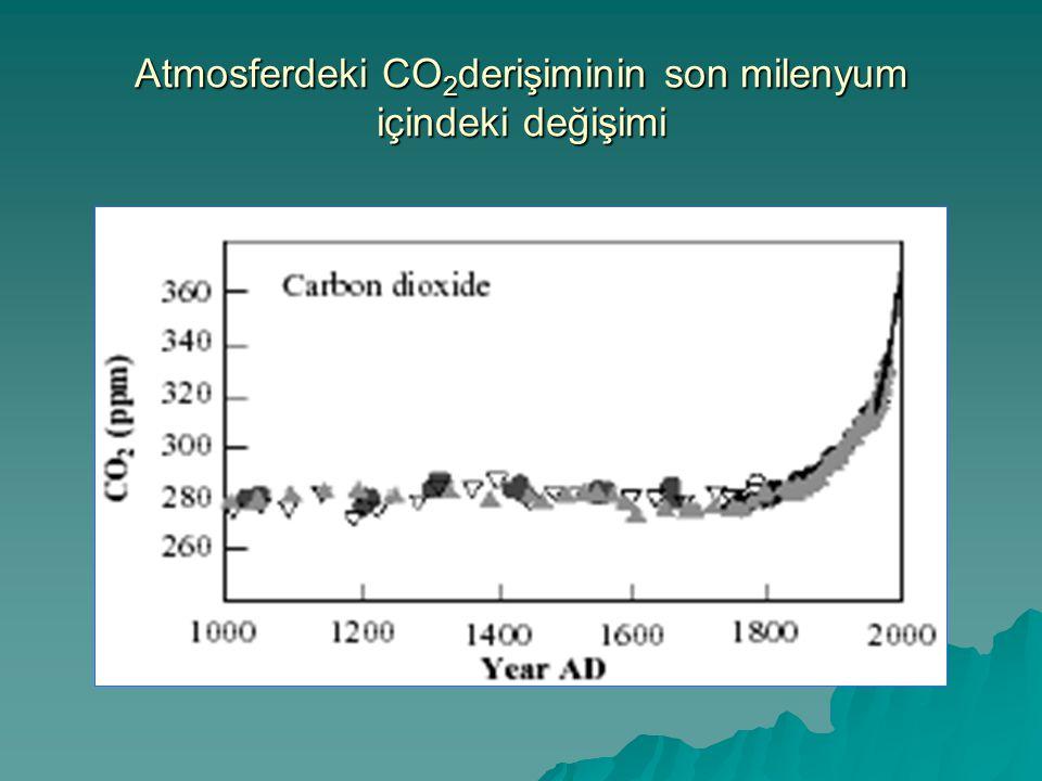  Atmosferdeki CO 2 oranı sanayi devriminden önceki son 10000 yıl içinde %10'dan daha az bir değişim gösterdiği halde, sanayi devriminden bu yana geçen 200 yıl içinde %30 armıştır.