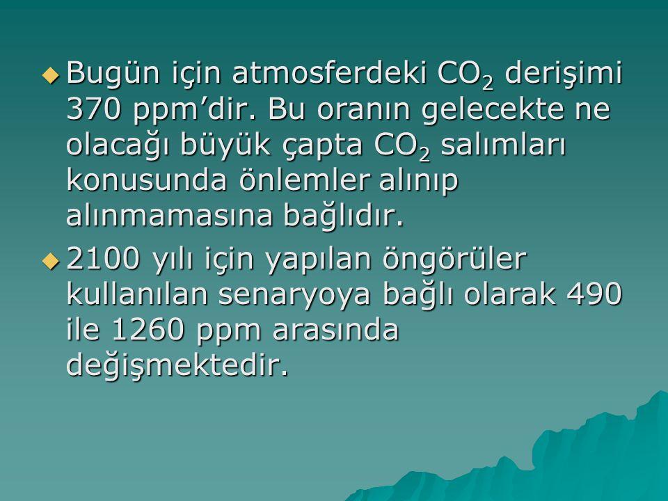  Bugün için atmosferdeki CO 2 derişimi 370 ppm'dir. Bu oranın gelecekte ne olacağı büyük çapta CO 2 salımları konusunda önlemler alınıp alınmamasına