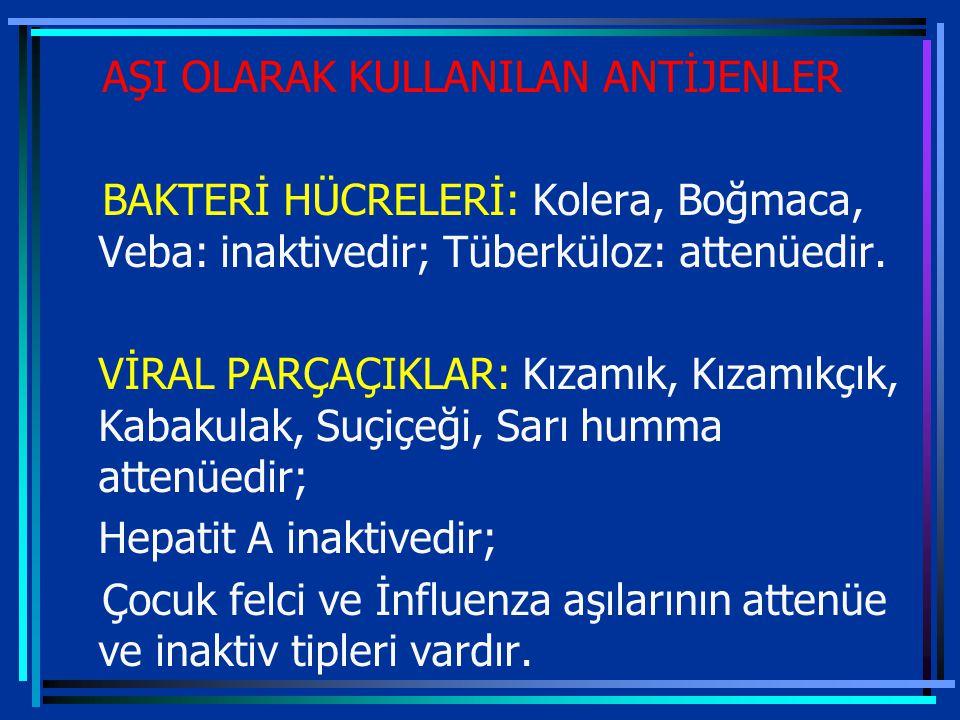 AŞI OLARAK KULLANILAN ANTİJENLER BAKTERİ HÜCRELERİ: Kolera, Boğmaca, Veba: inaktivedir; Tüberküloz: attenüedir.
