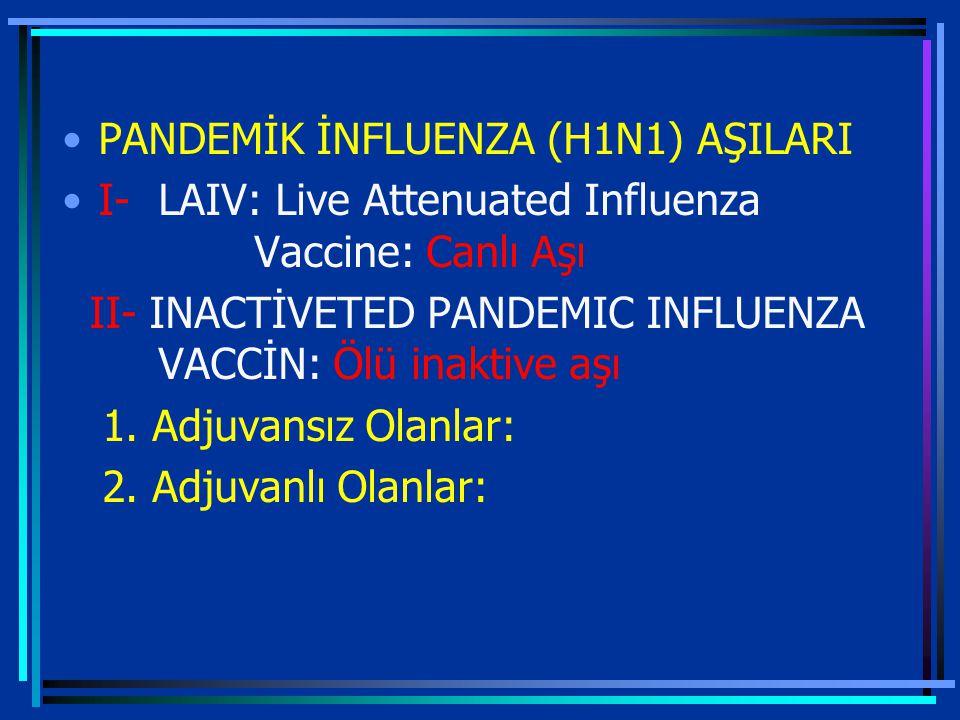 PANDEMİK İNFLUENZA (H1N1) AŞILARI I-LAIV: Live Attenuated Influenza Vaccine: Canlı Aşı II- INACTİVETED PANDEMIC INFLUENZA VACCİN: Ölü inaktive aşı 1.