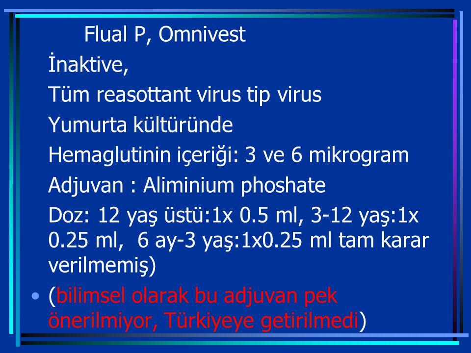 Flual P, Omnivest İnaktive, Tüm reasottant virus tip virus Yumurta kültüründe Hemaglutinin içeriği: 3 ve 6 mikrogram Adjuvan : Aliminium phoshate Doz: 12 yaş üstü:1x 0.5 ml, 3-12 yaş:1x 0.25 ml, 6 ay-3 yaş:1x0.25 ml tam karar verilmemiş) (bilimsel olarak bu adjuvan pek önerilmiyor, Türkiyeye getirilmedi)